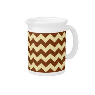 Brown Cream Chevron Zigzag Stripe Pattern Beverage Pitchers