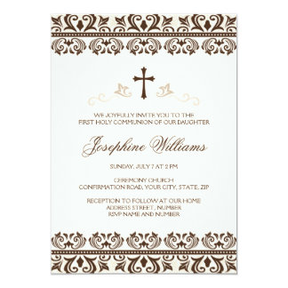 Brown cream damask first communion confirmation card