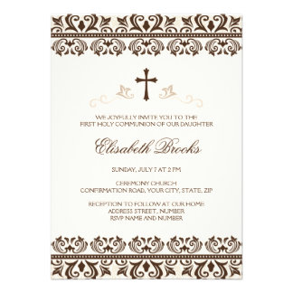 Brown cream damask first communion confirmation personalized invitations