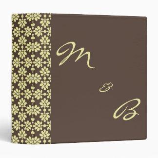 Brown&Cream Damask Wedding Album/Planner 3 Ring Binder
