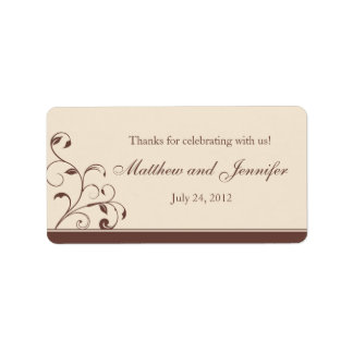 Brown & Cream Floral Curls Wedding Favor Labels Personalized Address Labels