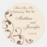 Brown & Cream Floral Curls Wedding Favor Labels Round Stickers