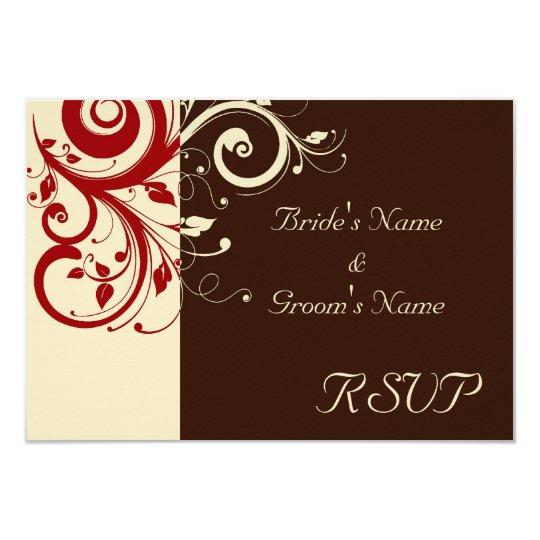 Brown/Cream/Red Reverse Swirl Card
