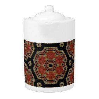 Brown, Cream Retro Dots Art Seamless Pattern Teapot
