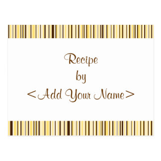 Brown & Cream Stripes Recipe Cards 4 x 6