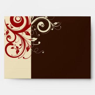 Brown/crema/remolino reverso rojo