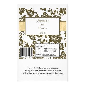 Brown/Creme Floral Damask Wedding Candy Wrapper Flyer