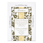 Brown/Creme Floral Damask Wedding Directions Card Invites