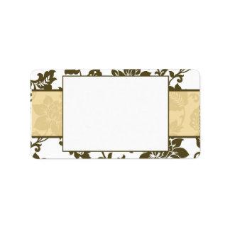 Brown/Creme Floral Damask Wedding Mailing Label