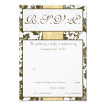 Brown/Creme Floral Damask Wedding RSVP Card Personalized Announcements