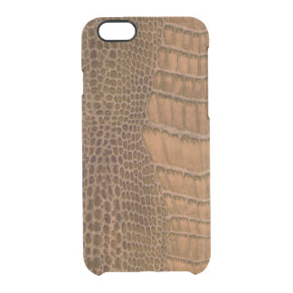 Brown Crocodile Imitation Faux Vegan Animal Print Uncommon Clearly™ Deflector iPhone 6 Case
