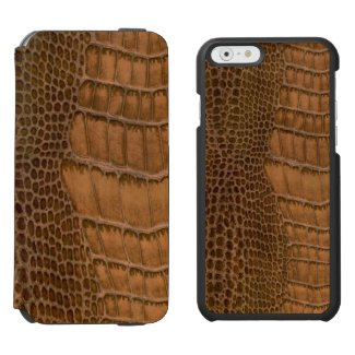 Brown Crocodile Imitation Faux Vegan Animal Print Incipio Watson™ iPhone 6 Wallet Case