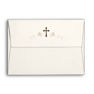 Brown cross and flourish damask on cream A7 Envelope