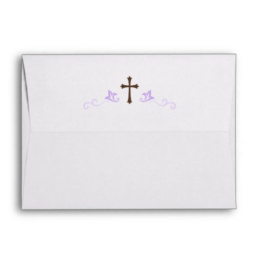 brown cross and purple flourish damask a7 envelope zazzle