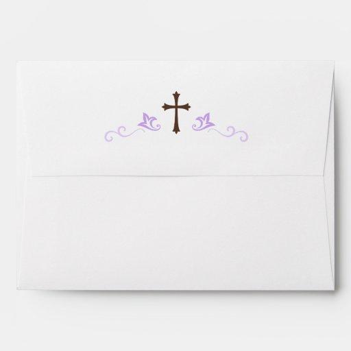 brown cross and purple flourish damask a7 envelope zazzle
