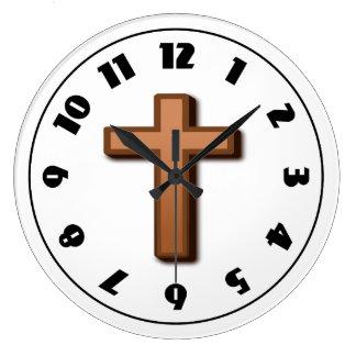 Brown Cross Clock