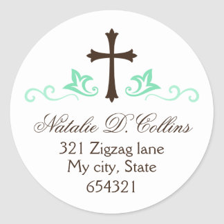 Brown cross mint green flourish custom address classic round sticker