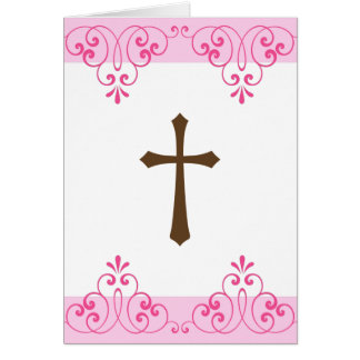 Brown cross pink lace damask first communion stationery note card