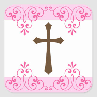 Brown cross pink lace damask first communion square sticker