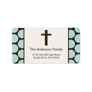 Brown Cross Religious address Label