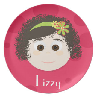Brown Curly Q Dark Brown Eyes Girl Melamine Plate