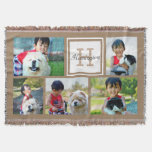 Brown Custom Monogrammed 5 Photo Picture Collage Throw Blanket at Zazzle