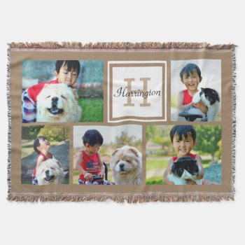 Brown Custom Monogrammed 5 Photo Picture Collage Throw Blanket by cutencomfy at Zazzle