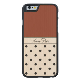 Brown Custom Name, Black Polka Dots Carved Maple iPhone 6 Slim Case