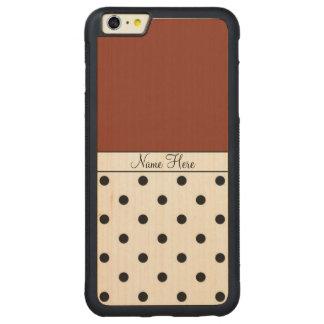 Brown Custom Name, Black Polka Dots Monogram Carved Maple iPhone 6 Plus Bumper Case