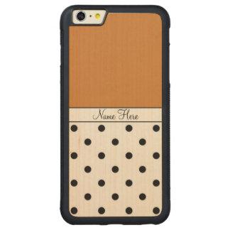 Brown Custom Name, Black Polka Dots Monogram Carved® Maple iPhone 6 Plus Bumper Case