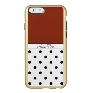 Brown Custom Name, Black & White Polka Dots Incipio Feather Shine iPhone 6 Case