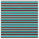 [ Thumbnail: Brown, Cyan, and Black Colored Striped Pattern Fabric ]