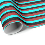 [ Thumbnail: Brown, Cyan, and Black Colored Striped Pattern Wrapping Paper ]