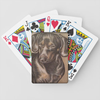 Brown Dachshund dog drawing of pet portrait Bicycle Playing Cards