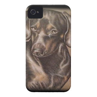 Brown Dachshund dog drawing of pet portrait iPhone 4 Case-Mate Case