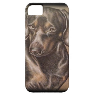 Brown Dachshund dog drawing of pet portrait iPhone SE/5/5s Case