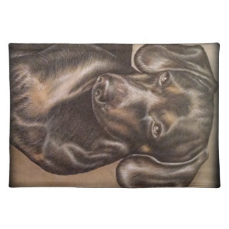 Brown Dachshund dog drawing of pet portrait Placemat