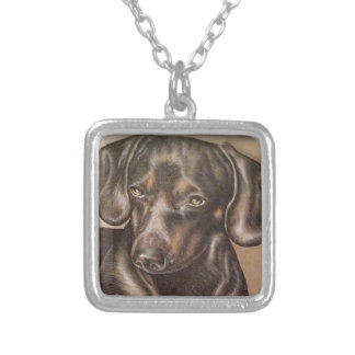 Brown Dachshund dog drawing of pet portrait Square Pendant Necklace