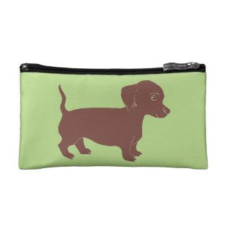 Brown Dachshund Green Cosmetic Accessory Bag