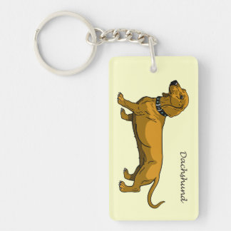 brown dachshund rectangular acrylic key chains