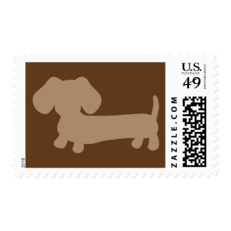 Brown Dachshund Postage Stamp for Wiener Dogs