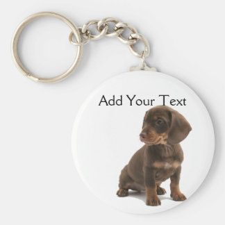 Brown Dachshund Puppy Keychain