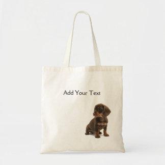 Brown Dachshund Puppy Totebag Canvas Bag