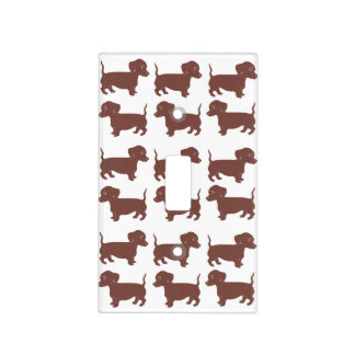Brown Dachshunds Pattern Light Switch Cover