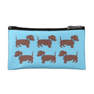 Brown Dachshunds with Blue Bows Blue Cosmetic Bag