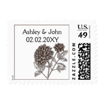 brown dahlia wedding stamps