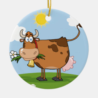 Brown Dairy Cow Double-Sided Ceramic Round Christmas Ornament
