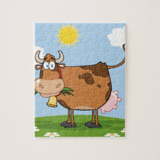 Brown Dairy Cow Jigsaw Puzzle