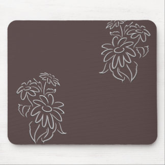 brown daisy scroll mouse pad