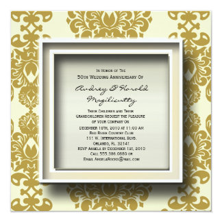 Brown Damask Anniversary Party Invitation
